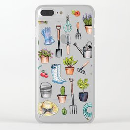Garden Gear - Spring Gardening Pattern w/ Garden Tools & Supplies Clear iPhone Case