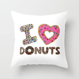 I LOVE DONUTS Throw Pillow