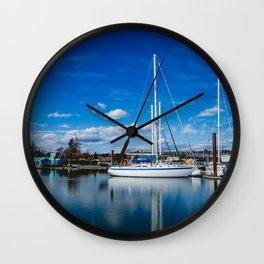 Columbia River Boat Reflection Wall Clock