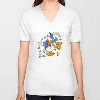 donald duck V-neck T-shirts featuring Funny Angry Donald Duck by Yuliya L