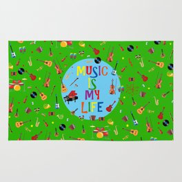 Music is my life (Green) Rug