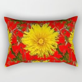YELLOW DANDELION BLOSSOMS ON RED ORGANIC ART Rectangular Pillow