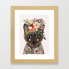 Siamese Cat with Flowers Framed Art Print