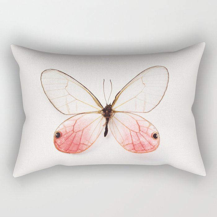 Pink Glasswing Rectangular Pillow