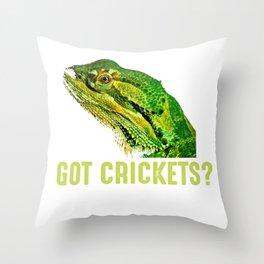 Got Crickets  Bearded Dragon Lizard  Throw Pillow
