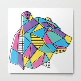 Geometric Bear Metal Print