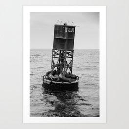 Sea Lions Resting on Buoy Art Print