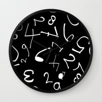 numbers Wall Clocks featuring numbers by beautifyprints