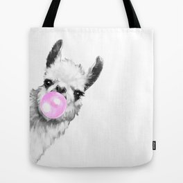 Bubble Gum Sneaky Llama Black and White Tote Bag
