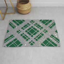Silver Glitter Plaid on Emerald Green Graphic Design Pattern Rug