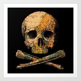 Treasure Map Skull Wanderlust Europe Art Print
