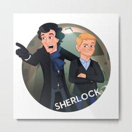 Sherlock Holmes and Watson cartoon Metal Print