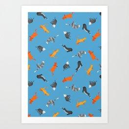Cat Pattern | Blue Background | Cats Illustration Art Print