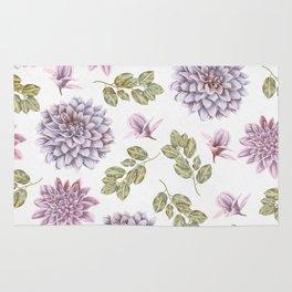Lavender Rose Garden Floral Pattern Rug