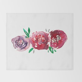 Three Red Christchurch Roses Throw Blanket
