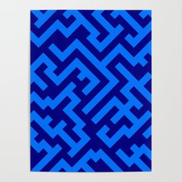 Brandeis Blue and Navy Blue Diagonal Labyrinth Poster