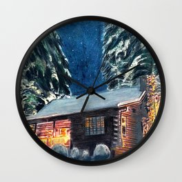 """Cabin In The Woods"" Log Cabin Original Art by Bryn Reynolds Wall Clock"