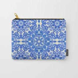Cobalt Blue & China White Folk Art Pattern Carry-All Pouch