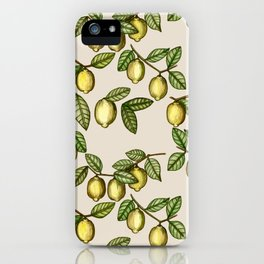 Lemons and Leaves Watercolour iPhone Case