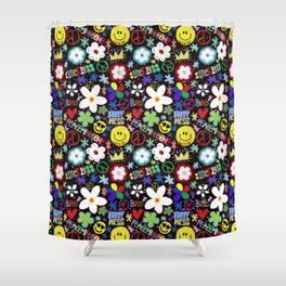 PMO colorful collage Shower Curtain