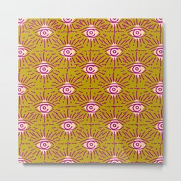 Dainty All Seeing Eye Pattern in Blush Metal Print