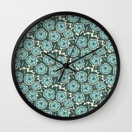 Flower Bouquet Pattern Mint Green on Green Wall Clock