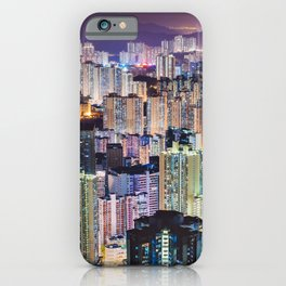 Kam Shan Country Park City-scape, Hong Kong nighttime portrait #1 iPhone Case