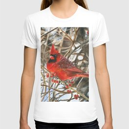Winter Cardinal by Teresa Thompson T-shirt