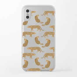 sunset leopards Clear iPhone Case