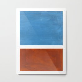 Antique Pastel Blue Brown Mid Century Modern Abstract Minimalist Rothko Color Field Squares Metal Print