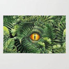 Watercolor dinosaur eye and prehistoric plants Rug