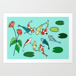 Koi Fish Meeting Art Print