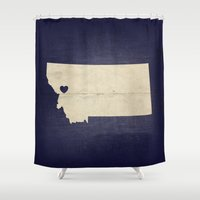 montana Shower Curtains featuring Missoula, Montana by Fercute