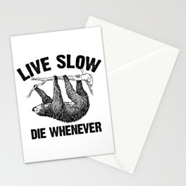 Live Slow Sloth Stationery Cards
