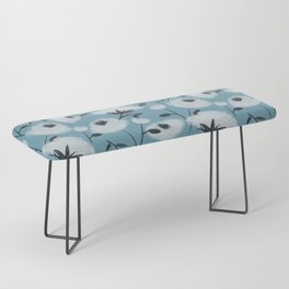 Cotton Flowers on Blue Pattern Bench