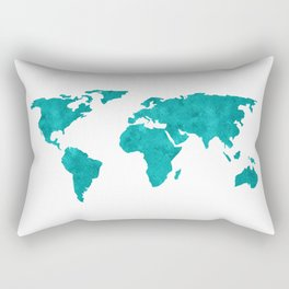 Turquoise Metallic Foil World Map Rectangular Pillow