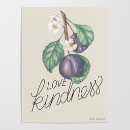 Love Kindness | Botanical illustration | Lettering arwork Poster