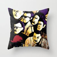 faces Throw Pillows featuring Faces by Helen Syron