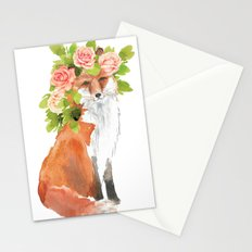 fox with flower crown Stationery Cards