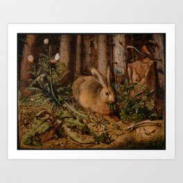A Hare In The Forest Hans Hoffmann Art Print