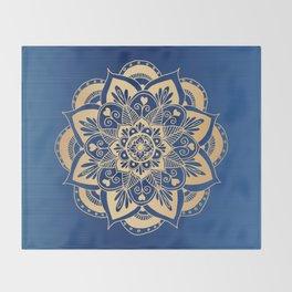 Blue and Gold Flower Mandala Throw Blanket