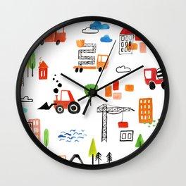 Watercolor Busy City Roads Pattern Wall Clock