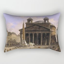 Ippolito Caffi - View of the Pantheon, Rome Rectangular Pillow