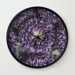 Metallic Purple Mums on a Metal Background Wall Clock