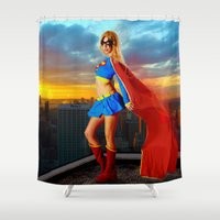 supergirl Shower Curtains featuring Supergirl by Shana-e