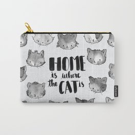HOME is where the CAT is - black and white Carry-All Pouch