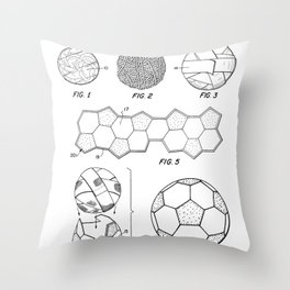 Soccer Ball Patent - Football Art - Black And White Throw Pillow