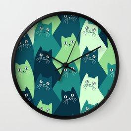 Cute green cat hand drawn illustration pattern Wall Clock