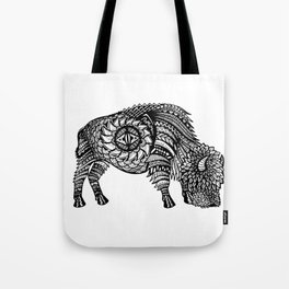 Grazing Buffalo Zentangle (abstract doodle) Tote Bag