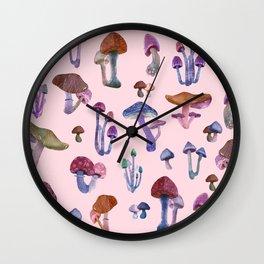 Mushrooms Pink!! Wall Clock